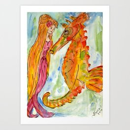 Sarah Mermaid and Kenneth Seahorse Art Print