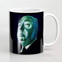 hitchcock Mugs featuring Alfred Hitchcock  by PiliArt