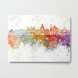 Salvador de Bahia V2 skyline in watercolor background Metal Print