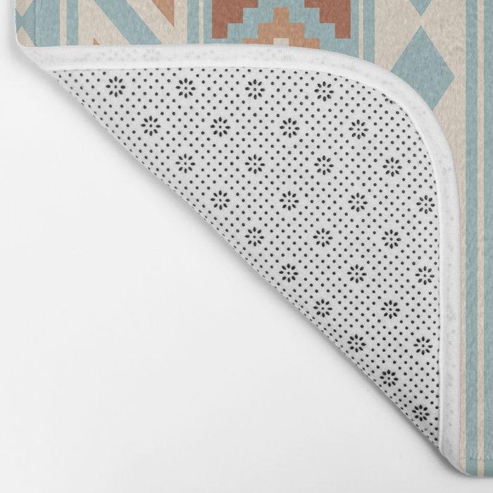 Aztec Essence Ptn IIIb Blue Crm Terracottas Bath Mat