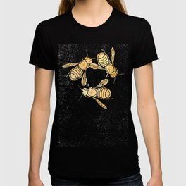 Bees and Blooms VII:  Watercolor illustrated bee and flower print T-shirt