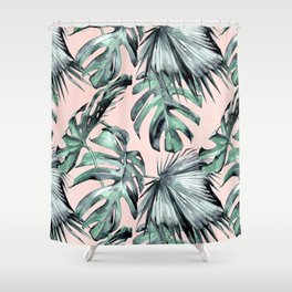 Island Love Coral Pink + Green Shower Curtain