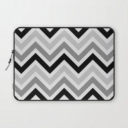 Chevron Stripes : Black Gray White Laptop Sleeve