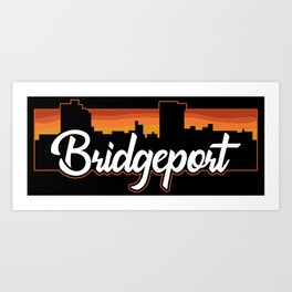 Vintage Bridgeport Connecticut Sunset Skyline T-Shirt Art Print