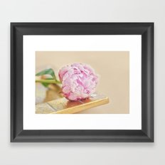 PEONY WITH GOLD Framed Art Print