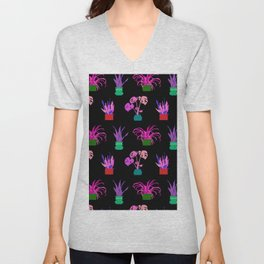 Simple Potted Plants in Black Unisex V-Neck