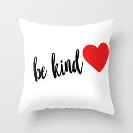 Be Kind red heart Throw Pillow