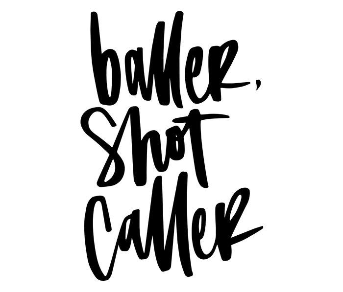 Baller, Shot Caller Hand Lettering Metal Travel Mug