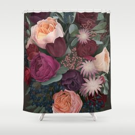 Dark florals Shower Curtain