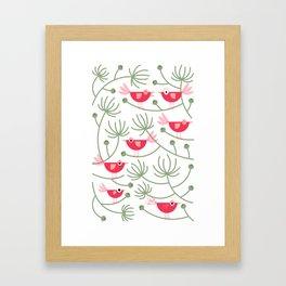 Resting Birdies - Pink Framed Art Print