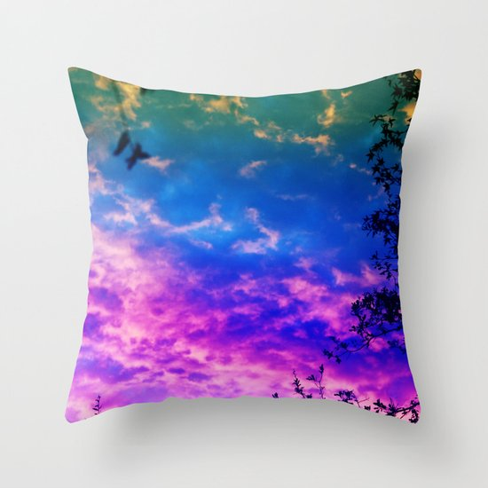 Rainbow Forest Throw Pillow