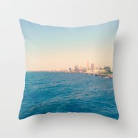 cleveland Throw Pillows featuring Cleveland Skyline  by Julia Blanchette