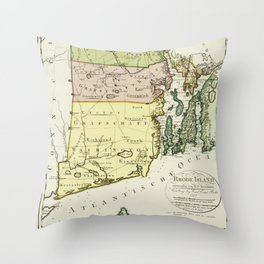 1797 Colonial Era Map of Rhode Island and Narragansett Bay Throw Pillow
