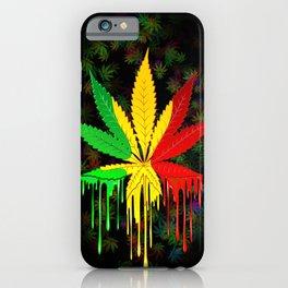 Marijuana Leaf Rasta Colors Dripping Paint iPhone Case
