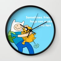 finn and jake Wall Clocks featuring Finn and Jake Fart  by Richtoon