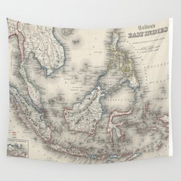 Vintage Map of Indonesia and The Philippines Wall Tapestry