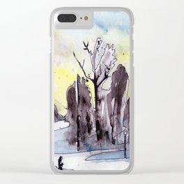 Winter Morning Walk Clear iPhone Case