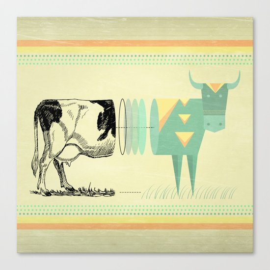 the black and white cow who wanted to be colorfully geometric  Canvas Print