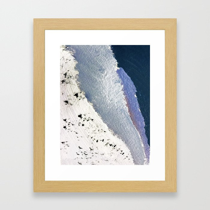 Delicate: a simple, elegant abstract piece in blues, black and white Framed Art Print
