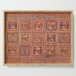 Zili South Caucasus Azerbaijan Antique Flatweave Rug Print Serving Tray