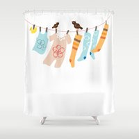 onesie Shower Curtains featuring Clothes Line by Paula S