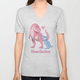 MamaSaurus T-Rex & Baby Boy Dinosaurs Unisex V-Neck