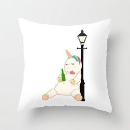 Drunk Unicorn Throw Pillow