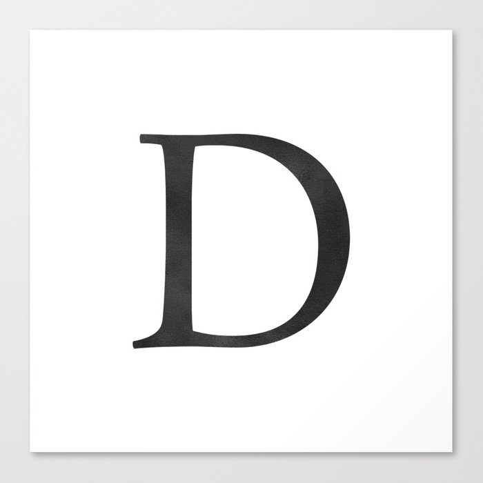 Letter D Initial Monogram Black And White Canvas Print By