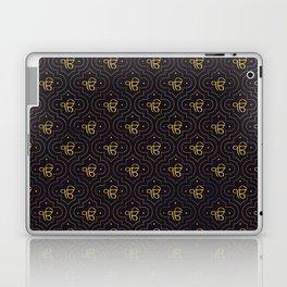 Gold Ek Onkar / Ik Onkar pattern on black Laptop & iPad Skin