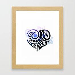 Blue Tribal Love Framed Art Print
