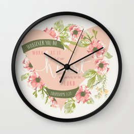 """All Your Heart"" Floral Bible Verse Print Wall Clock"