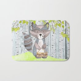 The adorable Racoon- Woodland Friends- Watercolor Illustration Bath Mat