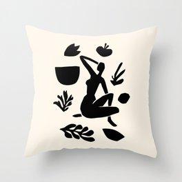 Woman in a garden Throw Pillow