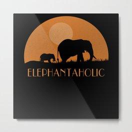 ELEPHANTAHOLIC Sunset Elephant Lover Metal Print