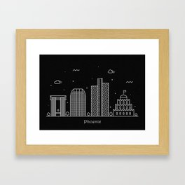 Phoenix Minimal Nightscape / Skyline Drawing Framed Art Print