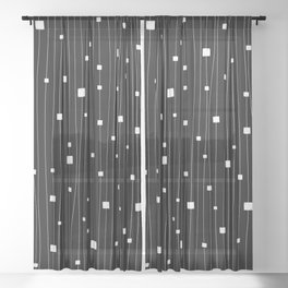 Squares and Vertical Stripes - Black and White - Hanging Sheer Curtain