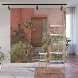Pink House Front Door In France Photo | Europe Summer Travel Photography | Greens And Roses Art Print Wall Mural