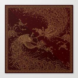 Golden Peacocks Canvas Print