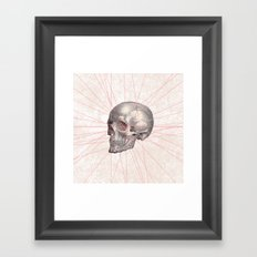 Abstract Gray Vintage Skull Modern Pink Stripes Framed Art Print
