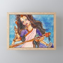 Saraswati is the Hindu goddess of knowledge, music, art, wisdom, and learning Framed Mini Art Print