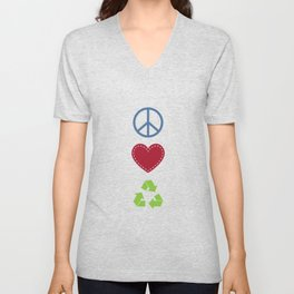 Peace Love Recycle Earth Day Environmental Awareness Unisex V-Neck