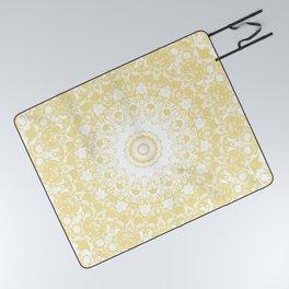 White Lace Mandala on Sunshine Yellow Background Picnic Blanket