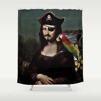 mona lisa Shower Curtains featuring  Mona Lisa Pirate Captain by Gravityx9