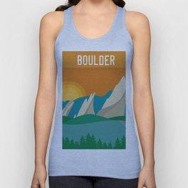 Boulder, Colorado - Skyline Illustration by Loose Petals Unisex Tank Top