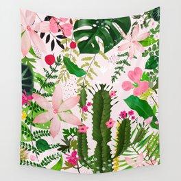 pink desert flowers Wall Tapestry