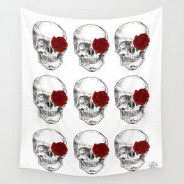 Rose Skull Wall Tapestry