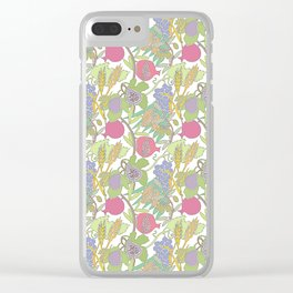 Seven Species Botanical Fruit and Grain with Pastel Colors Clear iPhone Case