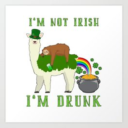 St Patricks Day Llama Sloth Irish Drinking Team Art Print