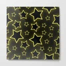 Bright neon stars on black background Metal Print