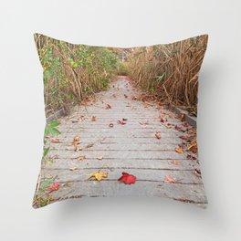 Autumn Marsh Boardwalk Throw Pillow
